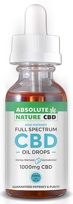 A green and blue absolute nature full spectrum CBD bottle with CBD oil drops, 1000mg CBD written on it