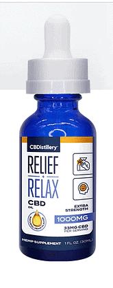 A blue CBDistillery bottle with relief + relax CBD oil 1000mg written on it