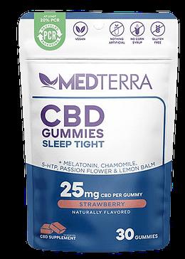 Best CBD gummies for sleep: Medterra Sleep Tight CBD gummies come in a blue and white resealable bag.
