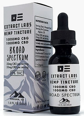 Extract Labs CBG broad spectrum white bottle with product information and best cbg oil