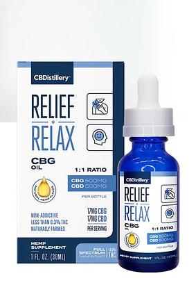 CBDistillery best cbg oil relax plus relief CBG oil blue bottle and box