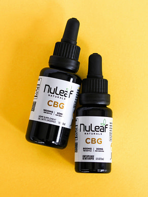 NuLeaf Naturals Full Spectrum CBG Tinctures bottles with bright yellow backround and best CBG oil product